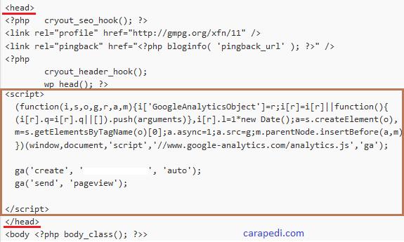cara memasang kode pelacakan google analytics pada blog wordpress dengan mudah
