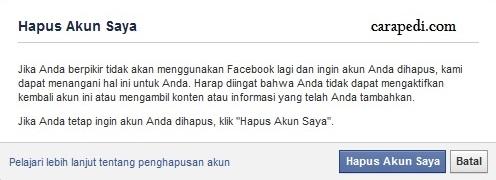 cara hapus akun facebook selamanya