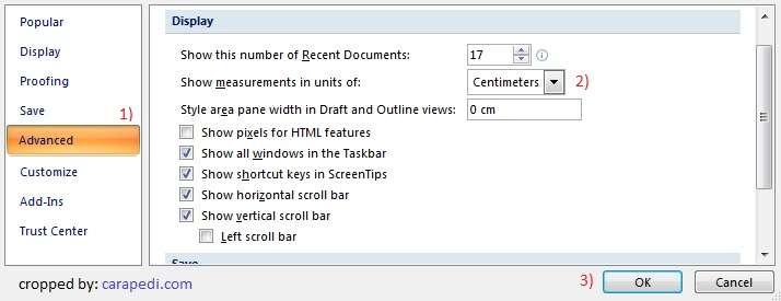 Cara merubah satuan inci menjadi cm di word 2007-2_3