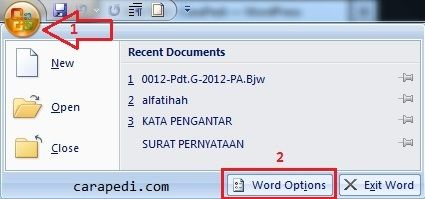 Cara merubah satuan inci menjadi cm di word 2007_1