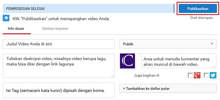 tutorial lengkap cara upload video di youtube