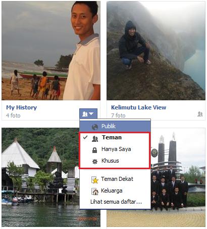 cara sembunyikan album foto facebook