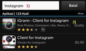 cara daftar instagram di blackberry dengan igran