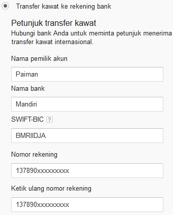 cara wire transfer google adsense ke rekening bank mandiri