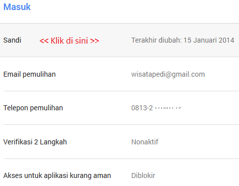 cara mengganti password gmail