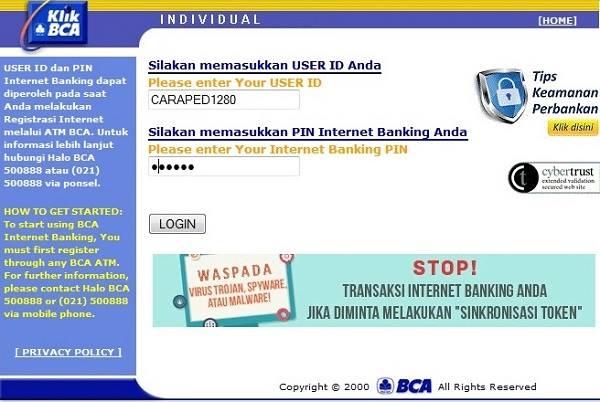 Cara Daftar Internet Banking BCA dan Cara Aktivasinya