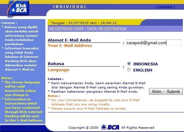 cara daftar internet banking bca melalui sms banking