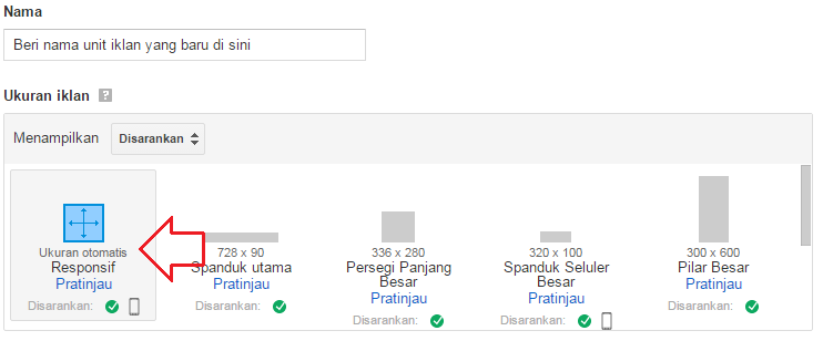 cara membuat unit iklan responsif google adsense