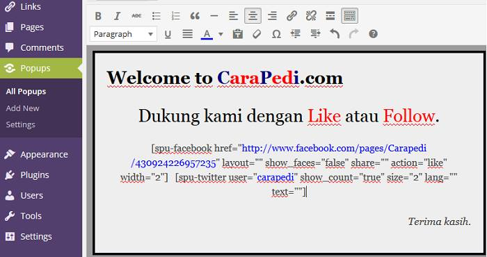 Cara Membuat PopUp Like Box Facebook