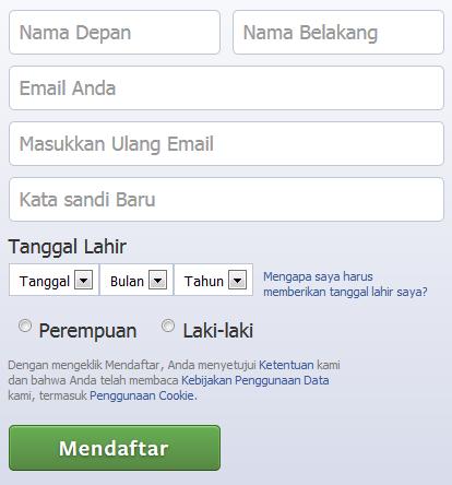 cara daftar atau buat akun facebook baru