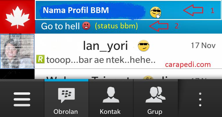 Cara Merubah Nama Profil Dan Status Bbm