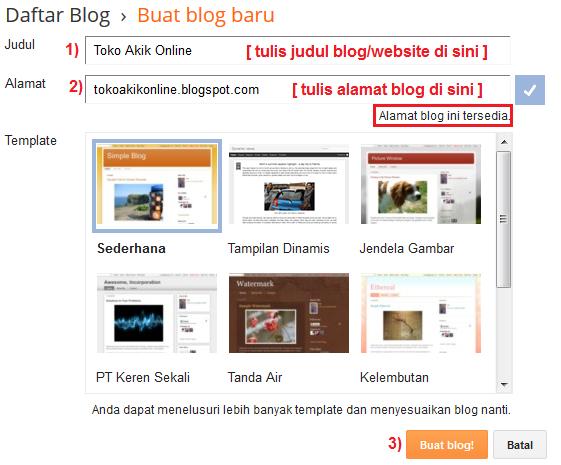 cara membuat blog gratis dengan menggunakan blogger