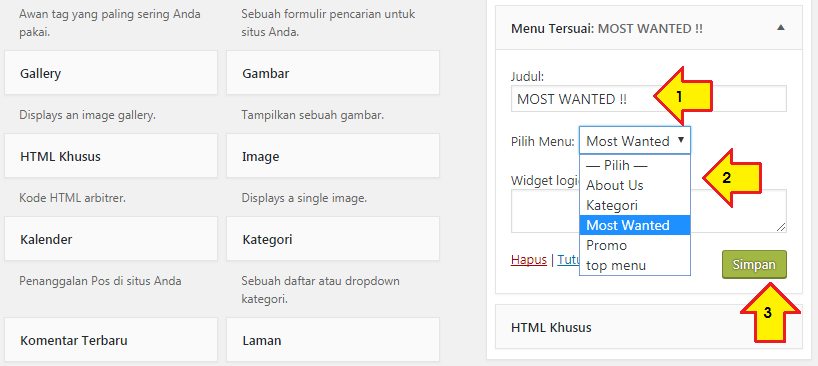 cara membuat menu dan sub menu di header wordpress