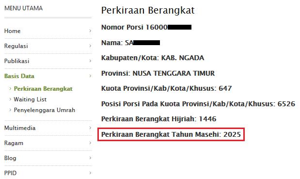 cara mengecek tahun keberangkatan haji secara online dengan nomor porsi