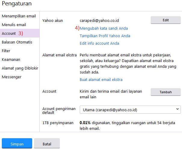 cara merubah password yahoo mail