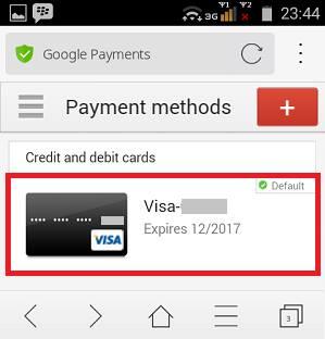 cara hapus payment methods pada play store berupa kartu kredit
