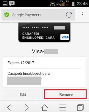 cara hapus akun kartu kredit pada akun google play store