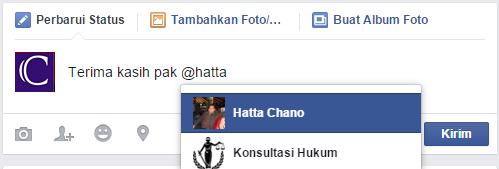 cara menandai teman di status atau komentar facebook
