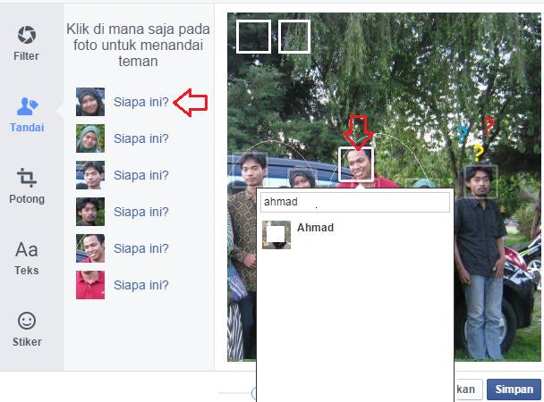 cara menambahkan tag di foto facebook