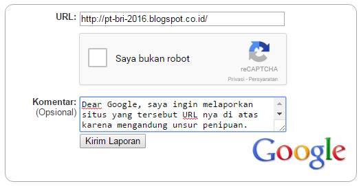 cara melaporkan blog penipu ke google
