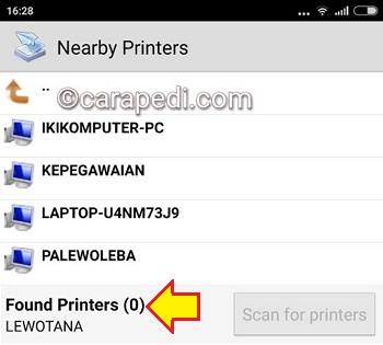 cara print lewat hp Android via wifi